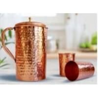 Tamta Copper Jug And Glass Set